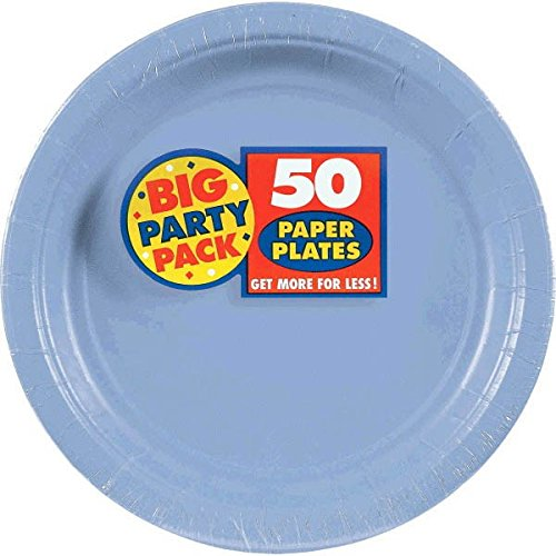 Amscan Amscan Pastel Blue Big Party Pack Dinner Plates (50 Count), 1, blue (Pastel Big)