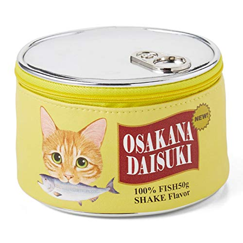 FELISSIMO Nekobu Travel Make Up Case – Shaped Like Cat Food Cans – Felissimo Nekobu s Original Design – Cute Accessory Pouch Yellow – Salmon