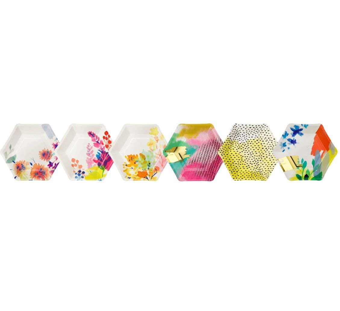 12 count Talking Tables Fluorescent Floral Hexagonal Floral Vibrant Disposable Plates for a Birthday FLU-PLATE