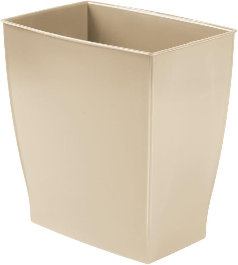 """iDesign Mono BPA-Free Plastic Rectangular Waste Basket - 11"""" x 8"""" x 12"""", Taupe"""
