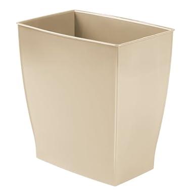 InterDesign Spa Rectangular Trash Can, Waste Basket Garbage Can for Bathroom, Bedroom, Home Office, Dorm, College, 2.5 Gallon, Beige