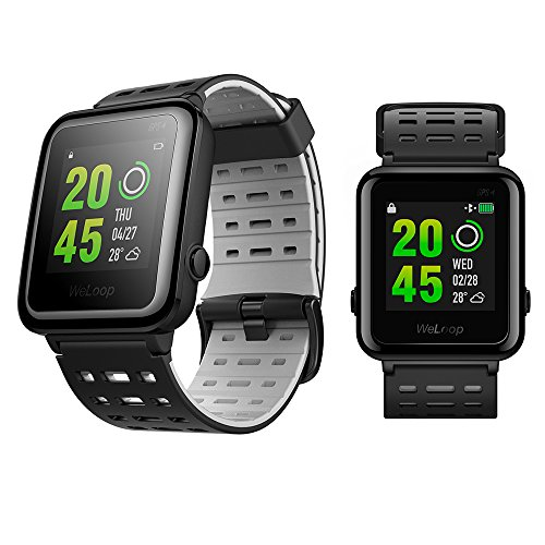 Weloop Sport Bluetooth Smart Watch with Silicone Strap Touch Screen Heart Rate GPS Tracker Pedometer Run Swimming Sleep Monitor Fitness Outdoor Sport Waterproof Smartwatch for Android IOS (Black) by Feitenn