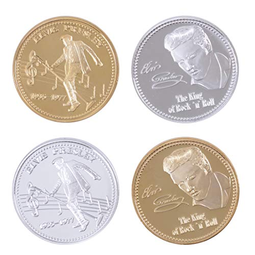 zcccom Challenge Coin Elvis Presley 1935-1977 The King of Rock'n'Roll Coin Deluxe Collector's Set | Featuring The Limited Edition Original Gold and Silver Commemorative Tokens (Deluxe Collector Set)