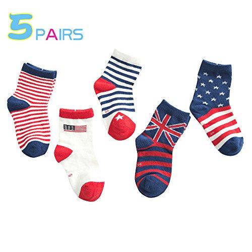 Qyqkfly Socks Boys' Stripe/US flag/star Athletic Contrast Crew Cotton Socks 5 Pair Pack Good Christmas Gift Choice(FBA)
