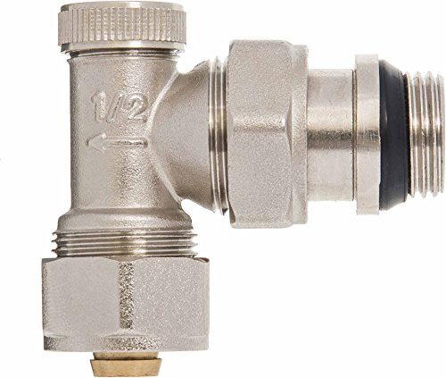 Angled Manual Return Outlet Radiator Valve 16mm PEX compression fittings x 1/2