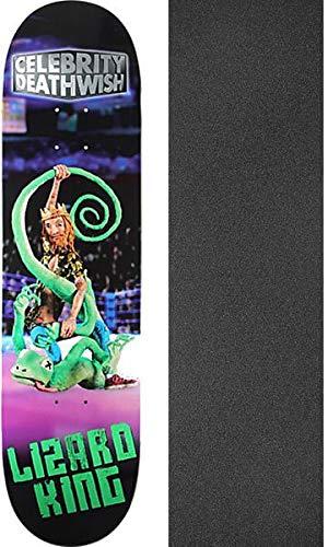 悪性のましい牧草地Deathwish スケートボード トカゲ キング セレブリティデッキ 8インチ x 31.5インチ ブラックマジックグリップテープ付き 2点セット
