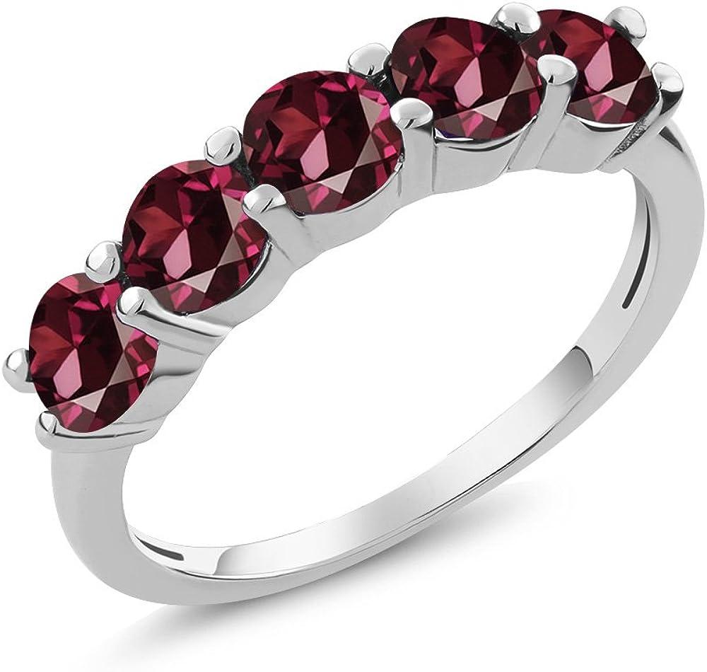 Lab Rhodolite Garnet Ring-Sterling Silver-Round Cut Garnet Ring-Engagement Ring-June Birthstone Ring-Promise Ring-Women Garnet Ring