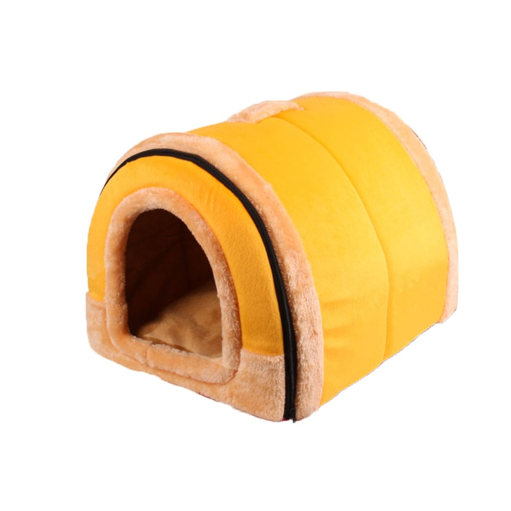 Small YQQ Warm Kennel Indoor Outdoor Doghouse Pet Supplies Double Use Yellow Cat Nest Cotton Nest Waterproof Removable And Washable (Size   S)