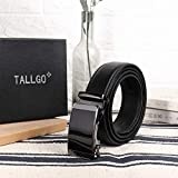 Mens Belt Genuine Leather Automatic Belt Adjustable Ratchet Dress Belt Buckle Black