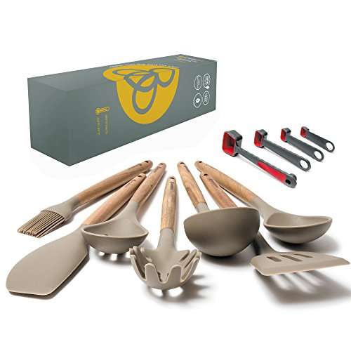 Silicone Kitchen Utensils Set - 11 Piece Camping Cooking Tools Set, Grey - Heat Resistant Spatula & Spoon Items for Nonstick Cookware Plus Plastic Measuring Spoons - Acacia Hard Wood Handles