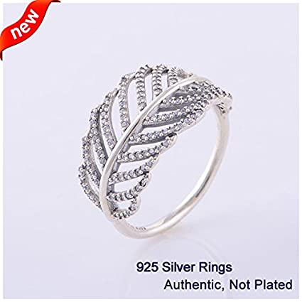 ca50187a7 Amazon.com: Compatible With Pandora Jewelry 100% 925 Sterling Silver Ring  Light As a Feather, Clear CZ DIY Original Charms (52)