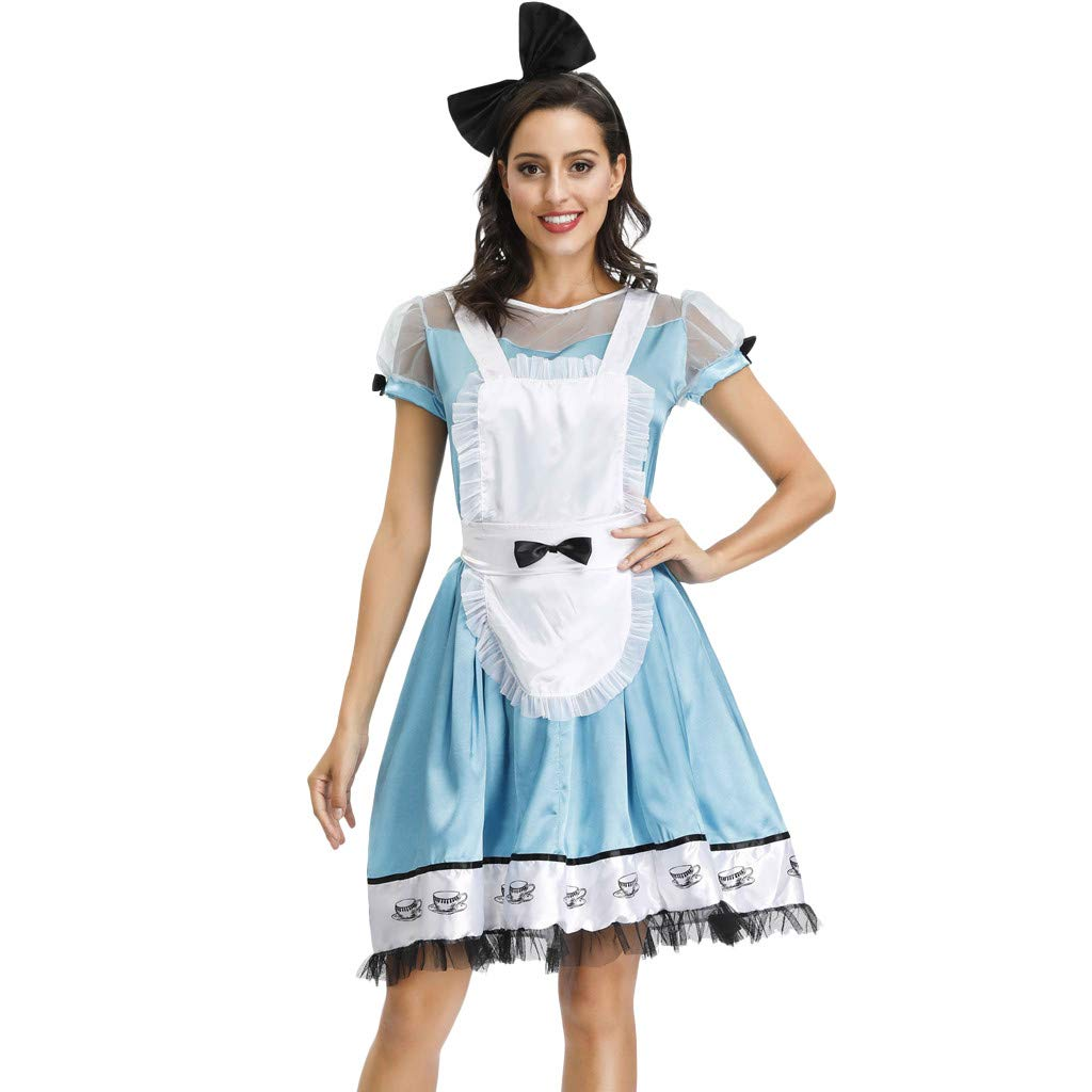 Onegirl Halloween Costume for Women Maidservant Cosplay Maid Wear Dress Headwear and Apron Garment Acting Clothes White by Onegirl-dress