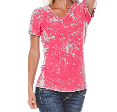 Kavio! Women Retro Wash BurnOut Jersey V Neck Short Sleeve Hot Pink L Retro Burnout T-shirt
