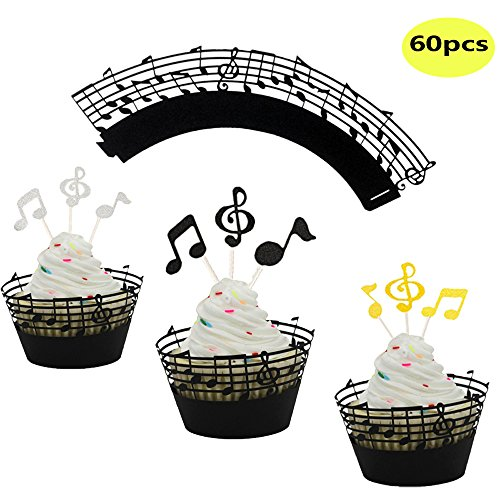 - LQQDD (Set of 60) Music Notes Cupcake Topper Music Notes Cupcake Wrappers Lace Muffin Case Cupcake Paper Liner,Music Notes Decorations Party Supplies Birthday Cake Decorating Tools Baby Showers Party