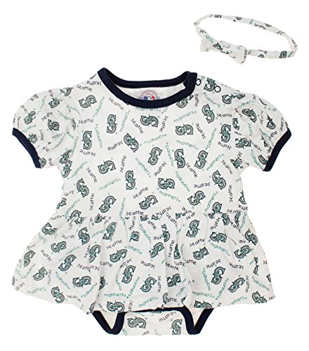 Mighty Mac Seattle Mariners MLB Baby Girls Infant Dress with Headband Set, White 24M