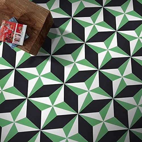 - Moroccan Mosaic & Tile House CTP39-05 Diamond Handmade Cement Tile, Black; White; Green