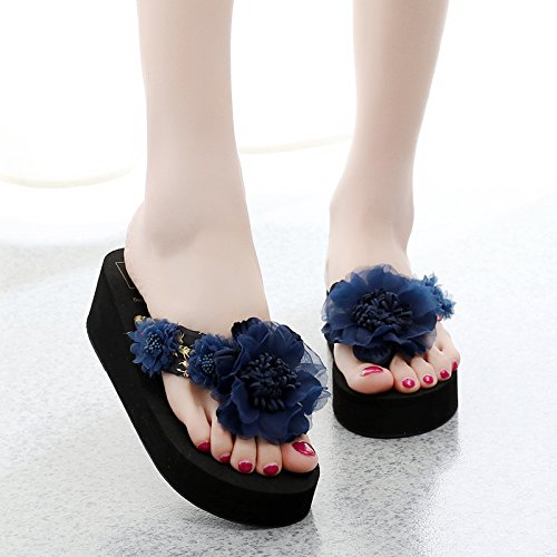 FLYRCX Flores dulce seaside beach calzado antideslizante pies clip inferior grueso chancletas de moda señoras zapatillas. e