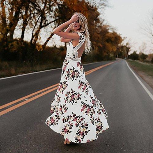 Blanco Verano Sexy Vestido Profundo ZARLLE Vestido Backless Vestidos De Flor Bohemia Summer Floral Mujer En De Cuello Mujer Playa Casual V 2018 Falda Encaje Asymmertrical Noche qpw45