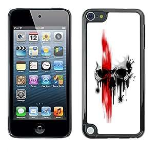 CASER CASES / Apple iPod Touch 5 / Red Skull / Delgado Negro Plástico caso cubierta Shell Armor Funda Case Cover