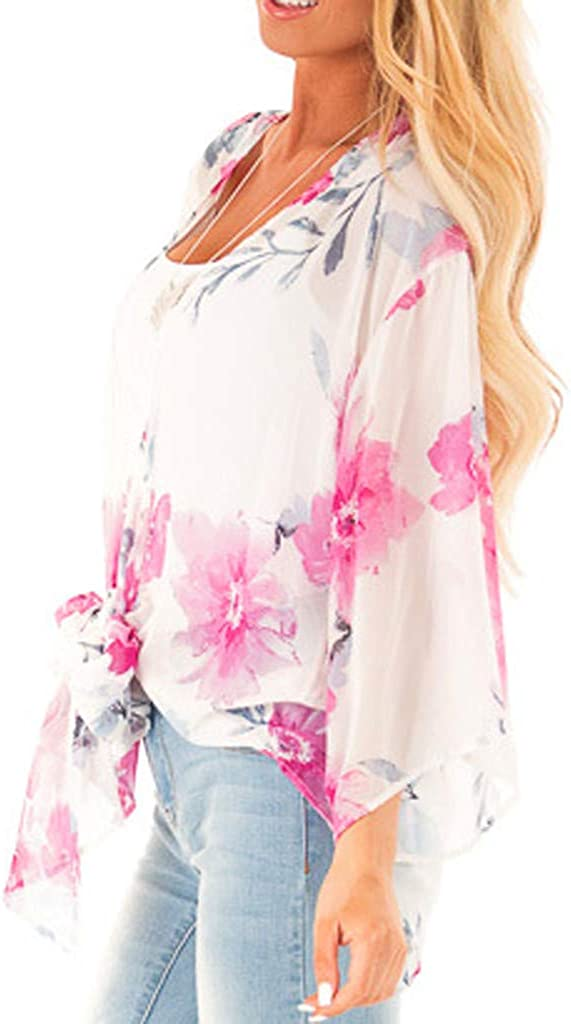 CCOOfhhc Womens Kimono Cardigans 3//4 Bell Sleeve Wrap Casual Coverup Coat Tops Outwear Tie Front Knot Floral Blouse