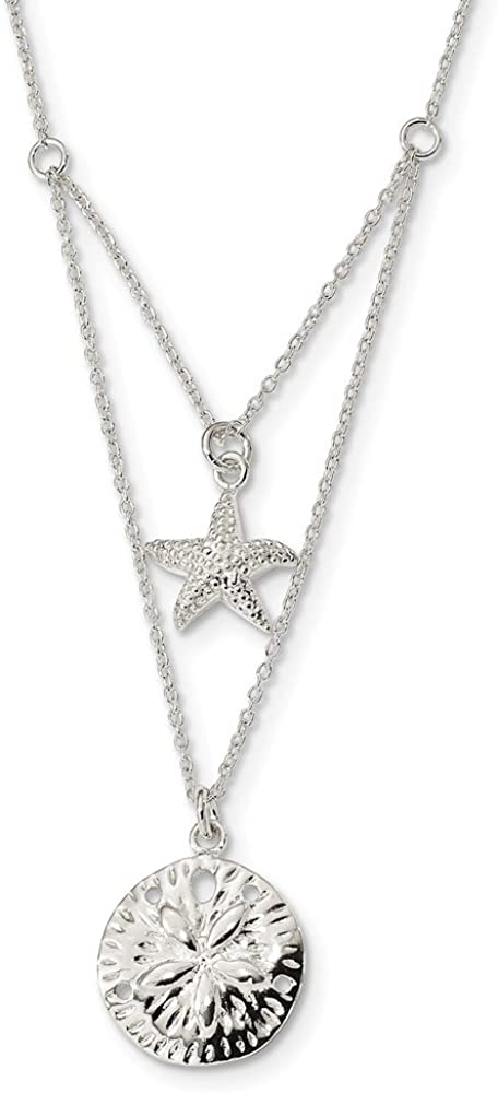18 Length 925 Sterling Silver 2-strand Starfish and Sand Dollar 18 inch Necklace