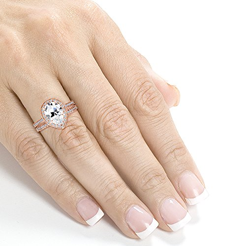 Near Colorless (F G) Pear Shape Moissanite and Diamond Halo Bridal Set 2 3/5 CTW in 14k Rose Gold