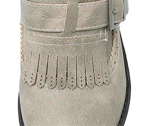 piatto GRAY Buckle nappe 43 gray Court 38 Walking XIE Shoes Belt basso Retro tacco qcfxW71t