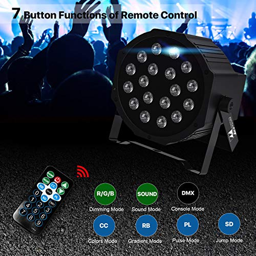 8 pcs Uplights 18 RGB Led UpLights LED Par Can Lights with Remote Control DJ Uplighting Package for Wedding Birthday Home Party Missyee Sound Activated DMX Uplighting