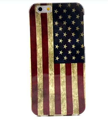 """Vintage Retro Colorful Patern TPU Rubber Soft Back Case Cover Skin for Apple Iphone6 4.7"""" (3-American Flag)"""