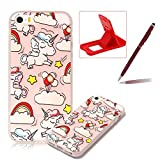Clear Case for iPhone SE,Soft TPU Cover for iPhone 5S,Herzzer Ultra Slim Pretty [Cartoon Unicorn Pattern] Silicone Gel Bumper Flexible Crystal Transparent Skin Protective Case + 1 x Free Red Cellphone Kickstand + 1 x Free Claret-Red Stylus Pen