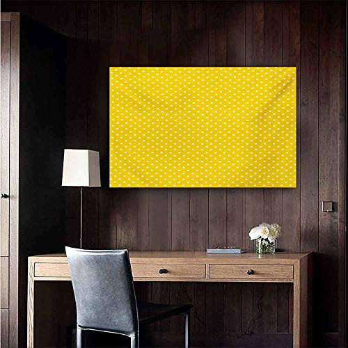 duommhome Vintage Yellow Art Oil Paintings Traditional Polka Dot Pattern Traditional European Spotty Retro Design Canvas Prints for Home Decorations 35