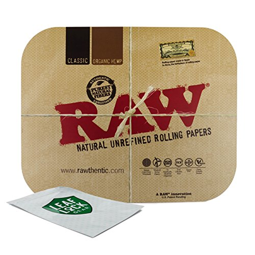 RAW Magnetic Rolling Tray Cover and Leaf Lock Gear Smell Proof Pouch by RAW, Leaf Lock Gear