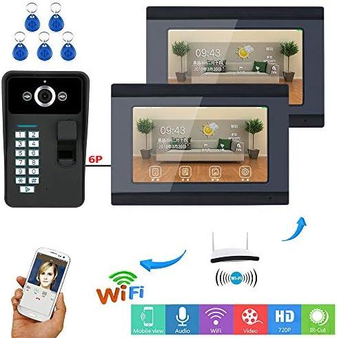7インチ2つのモニタIR-CUT 1000TVL有線カメラナイトビジョンと無線LAN指紋RFIDパスワードビデオドア電話ドアベルインターホンエントリーシステム、リモートAPPのロック解除、録音、スナップショットをサポートしています