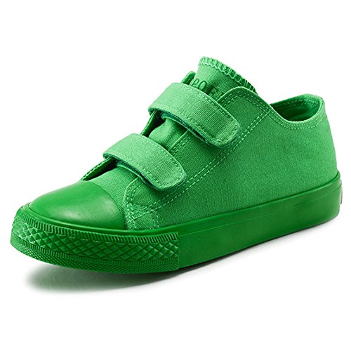Green Boys Strap - Boy's Girl's Low-Top Casual Strap Canvas Sneakers, Green, Big Kid, Size 6