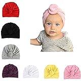 Udobuy 7 Pcs Headband Updated Version Baby Hat- Newborn Baby Girl Soft Cute Turban Knot Rabbit Hospital Hat (7 Pcs Set Knotted Hat) Multicolored