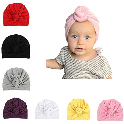 Udobuy 7 Pcs Headband Updated Version Baby Hat- Newborn Baby Girl Soft Cute Turban Knot Rabbit Hospital Hat (7 Pcs Set Knotted Hat) Multicolored (Baby Bonnet)