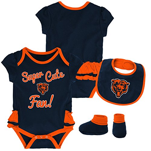 Outerstuff NFL NFL Chicago Bears Newborn & Infant Mini Trifecta Bodysuit, Bib, and Bootie Set Deep Obsidian, 24 Months ()