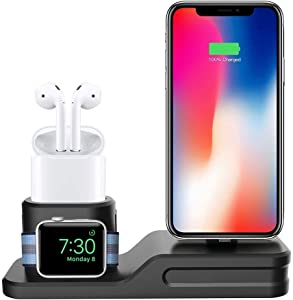 Charging Stand for Apple Watch and iPhone, Freal Apple Watch Accessories Silicone 3 in 1 Charging Station for Apple Watch Series 1/2/3, Airpods, Charger Base for iPhone X/8/8/7/76/6 Plus