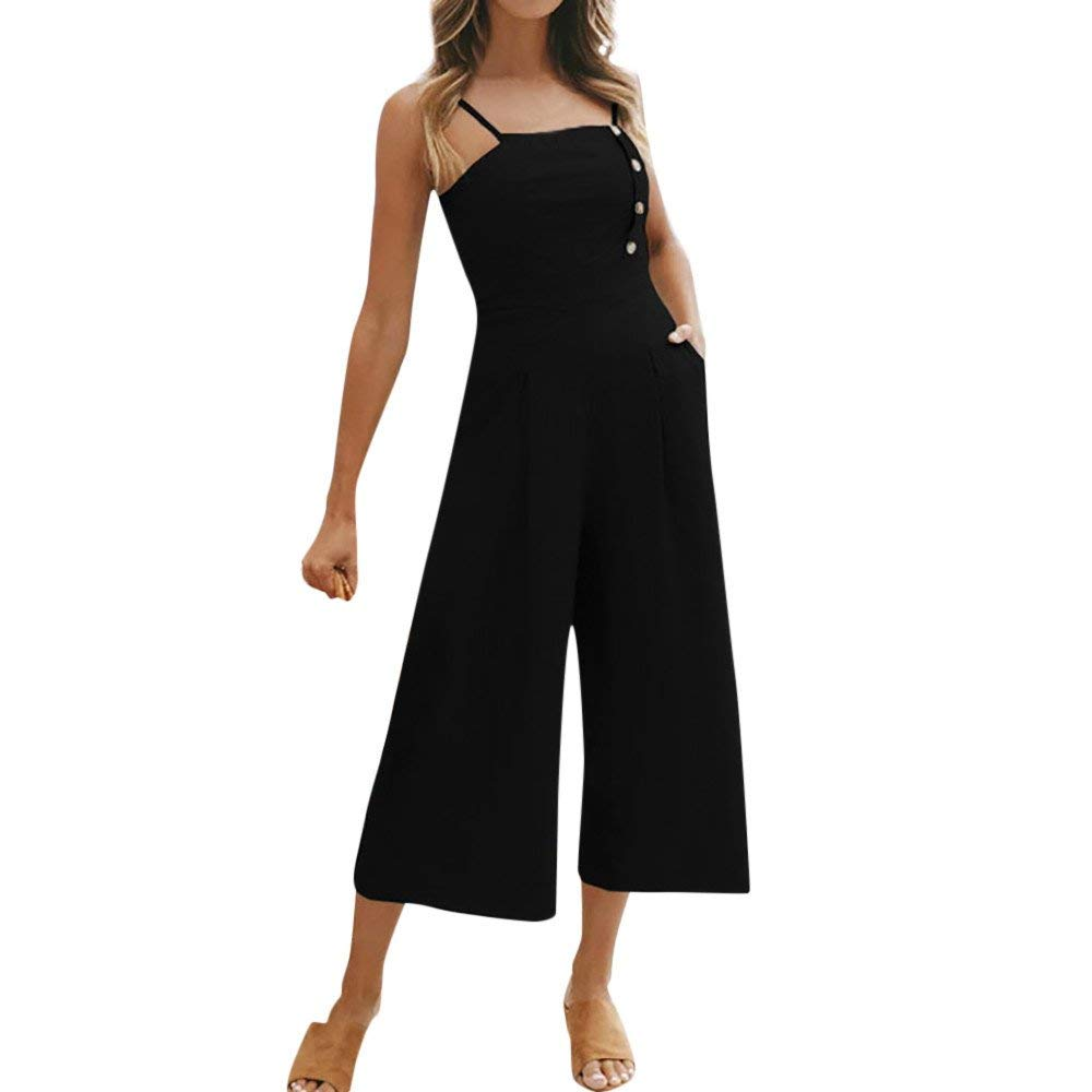 GWshop Ladies Fashion Elegant Jumpsuit Women Jumpsuits Elegant Wide Leg Sleeveless High Waisted Summer Pants Black M by GWshop (Image #1)