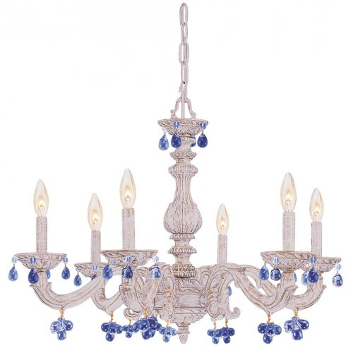 LUE Crystal Accents Six Light Chandelier from Paris Market collection in Whitefinish, (Aw Blue Crystorama Lighting)