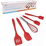 Hihamer Set of 5 Premium Silicone Spatulas with Hygienic Solid Coating,Silicone Kitchen Utensils Set