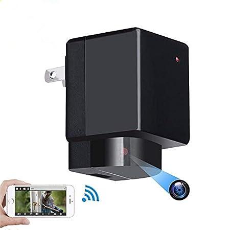 Vrnzau Hidden Camera 1080P WiFi HD Spy Plug Adapter PTZ 180 Lens Rotation Wireless Video Recorder Motion Detection Security Monitoring Nanny Cam