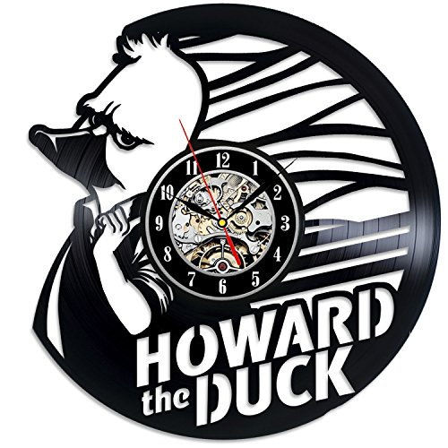 Howard The Duck Comics Movie Vinyl Record Wall Clock - Decorate your home with Modern Marvel Comics Art - Gift for men and women, girls and boys - Win a prize for a feedback