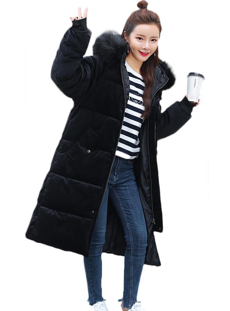 mujer invierno largo acolchado capa casual encapuchado sobredimensionado ropa de calle, S-XXL