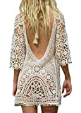 Women's Boho Crochet Floral Lace Beachwear Cover Up Top Tunic Shirt Dress