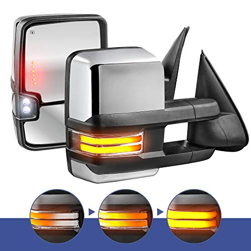 MOSTPLUS New Power Heated Chrome Towing Mirrors for Chevy Silverado Suburban Tahoe GMC Serria Yukon 2003-2006 w/Sequential Turn light, Clearance Lamp, Running Light(Set of 2)