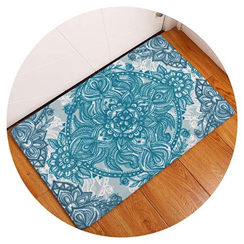 Bohemian Floral Carpet Non-Slip Floor Mat Area Rug Mandala Pattern Soft Polyester Door Mats for Home Bedroom Kitchen Toilet,Abstract 08,40 x 60 cm