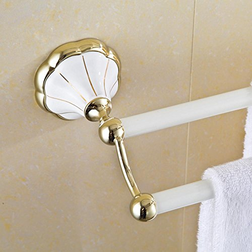 HJKLL-Antique country Towel rack, golden copper brushed metal-bathroom accessories, European-style bathroom baked white double rod set by HJKLL