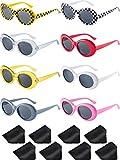 Blulu 8 Pairs of Retro Oval Mod Thick Frame Sunglasses 8 Colors Women Men Girl Boy Sunglasses (Color 1)