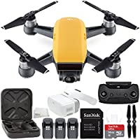 DJI Spark Portable Mini Drone Quadcopter + DJI Goggles Virtual Reality VR FPV POV Experience Ultimate Bundle (Sunrise Yellow)